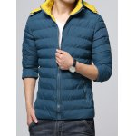 cheap Hooded Color Block Zip-Up Padded Jacket