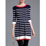 cheap Striped Color Block Sweater Dress