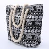 Ethnic Style Elephant Print and Black Design Shoulder Bag For Women photo