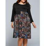 Splicing Print Long Sleeve Plus Size Dress