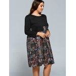 Splicing Print Long Sleeve Plus Size Dress deal