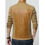cheap Stand Collar Spliced Design PU-Leather Zip-Up Jacket