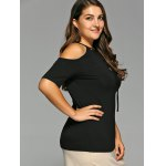 Plus Size Drawstring Design Cold Shoulder Tee deal