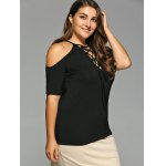 cheap Plus Size Drawstring Design Cold Shoulder Tee