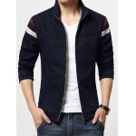 Stand Collar Color Block Stripe Rib Spliced Zip-Up Jacket deal