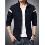 cheap Stand Collar Color Block Stripe Rib Spliced Zip-Up Jacket