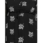 Plus Size Maple Leaf Embroidery Chiffon Dress for sale