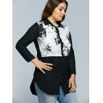 cheap Plus Size Chinese Painting Print Shirt