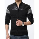 Stand Collar PU-Leather and Knited Splicing Geometric Emboss Jacket