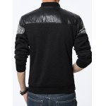 Stand Collar PU-Leather and Knited Splicing Geometric Emboss Jacket deal