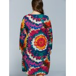 Plus Size Flower Print Long Sleeve Dress for sale