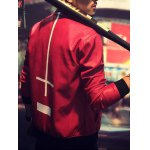 cheap Zip Up Long Sleeve Cross Print Faux Leather Jacket