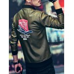 Letter Print Zip Up Rib Spliced Faux Leather Jacket deal