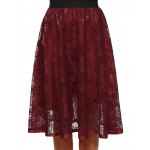 cheap Hollow Out Lace Midi Skirt