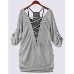 cheap Scoop Neck Half Sleeve Lace-Up Hollow Out T-Shirt and Tank Top Twinset