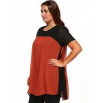 Round Neck Short Sleeve Color Block Top deal