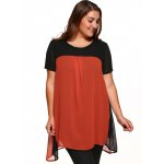 cheap Round Neck Short Sleeve Color Block Top