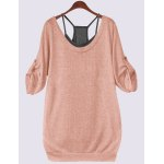 Buy Scoop Neck Half Sleeve Lace-Up Hollow T-Shirt Tank Top Twinset 4XL