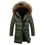 Buy Hooded Faux Fur Lengthen Pockets Design Coat M ARMY GREEN