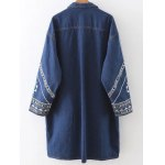 cheap Embroidered Longline Denim Coat