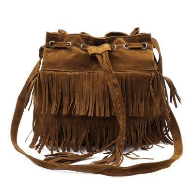 Tassels and Solid Color Design Crossbody Bag For Women