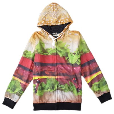 Modish Fitted Hooded 3D Hamburger Pattern Long Sleeve Cotton Blend Hoodie For Men