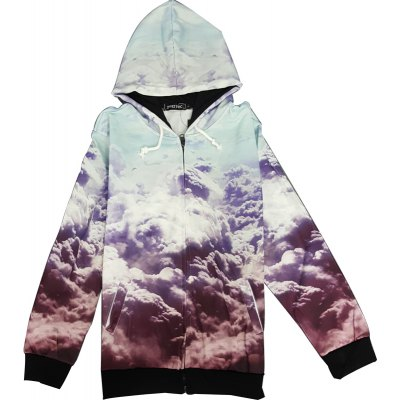 Trendy Fitted Hooded 3D Clouds Pattern Long Sleeve Cotton Blend Hoodie For Men