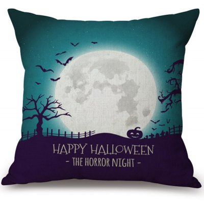 Happy Halloween Horror Night Printed Decorative Pillow Case