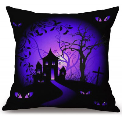Halloween Horror Night Printed Decorative Pillow Case