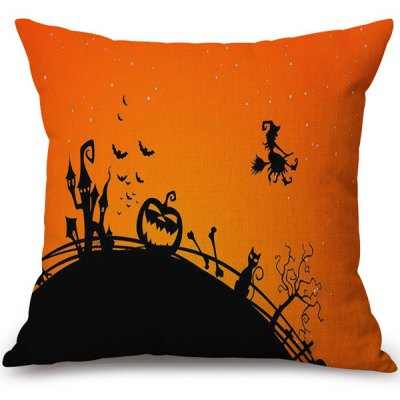 Soft Happy Halloween Witch Printed Decorative Pillow Case
