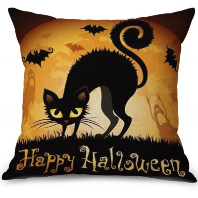 Caso suave Happy Halloween Cat Impreso Almohada decorativa