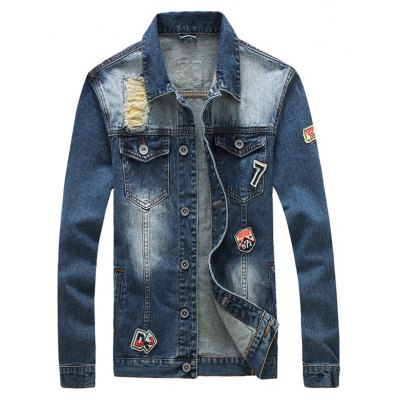 Patched Button Up Ripped Denim Jacket