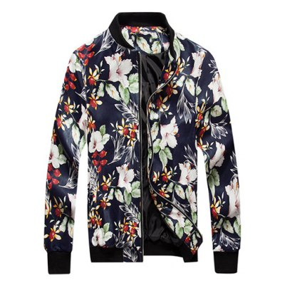 Floral Print PU Leather Jacket
