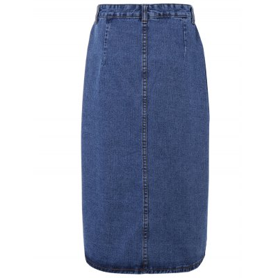 Double Pocket Split Denim Skirt