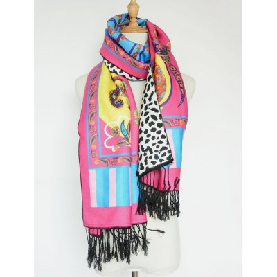 Paisley and Leopard Pattern Tassel Shawl Scarf