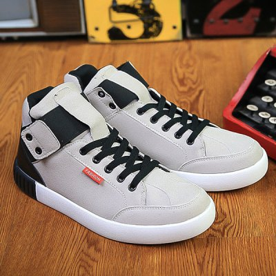 Lace Up Colour Block Elastic Band Casual Shoes