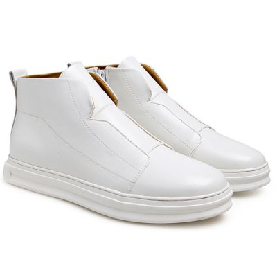 PU Leather Zipper Stitching Casual Shoes