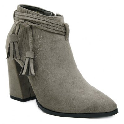 Tassels Stitching Ankle Boots