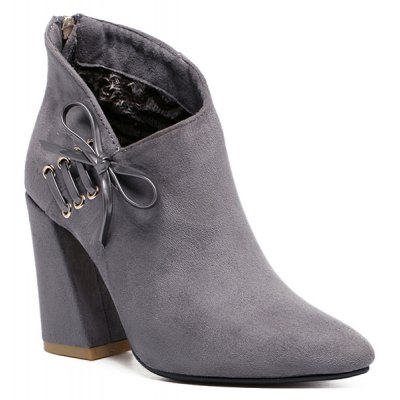 Lace-Up Zipper Ankle Boots
