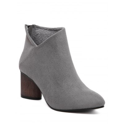 Zipper Pointed Toe Ankle Boots