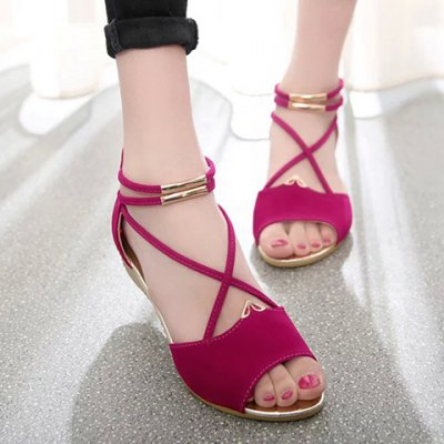 Stylish Zipper and Cross Straps Design Sandals For Women