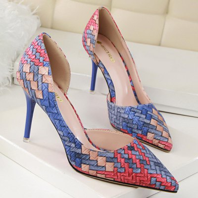 Woven Pattern Pointed Toe Pumps