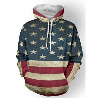 Color Spliced Print Striped Pullover Hoodie
