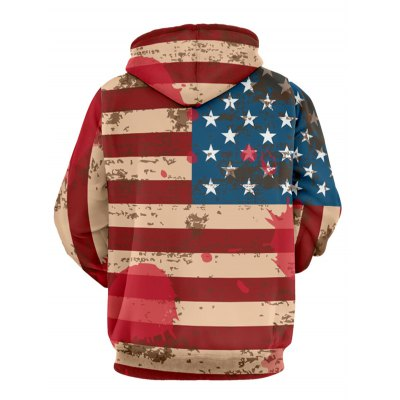 Flag Pattern Long Sleeve Drawstring Pullover Hoodie
