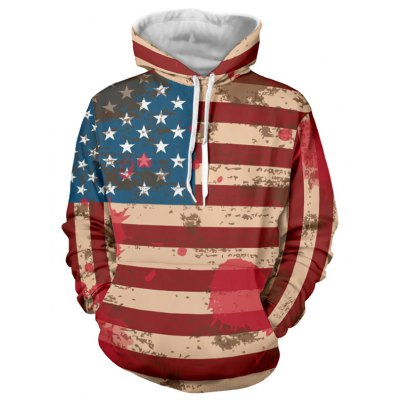 Flag Pattern Drawstring Pullover Hoodie
