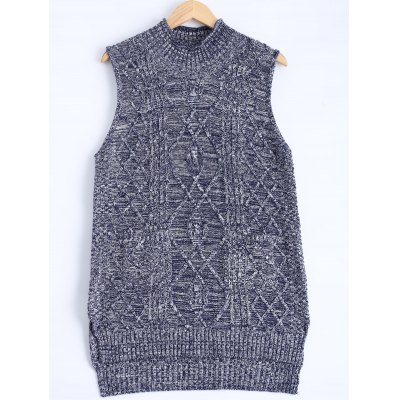 Textured Heathered Asymmetric Knitted Vest