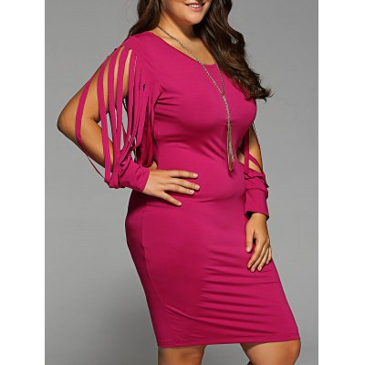 Plus Size Fringed Bodycon Dress
