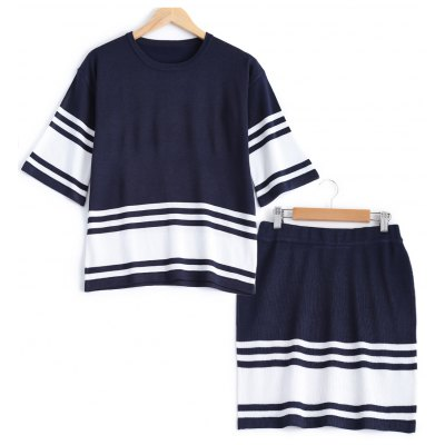 Stripe Knit Short Two Piece Dress