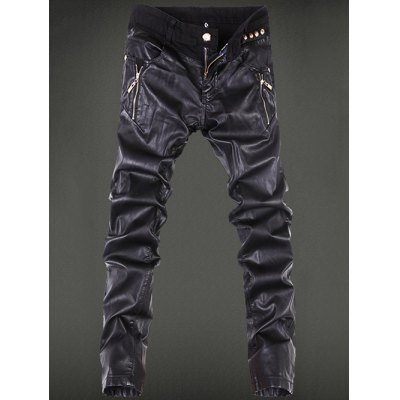 Zippered Leather Patchwork Pants