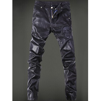 Skull Pattern Pocket Rivet Zippered Faux Leather Pants